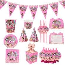 ЛОЛ Сюрприз куклы счастливый день рождения украшения набор стакан одноразовый сплетенный поднос посуда игрушки для девочек праздник платье вверх