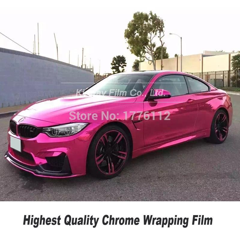*Premium Chrome Pink Car Vinyl Film Wrap Sticker Decal Air Release Bubble Free