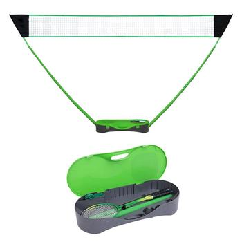 Conjunto de red de bádminton portátil, estuche de almacenamiento plegable para tenis, Red de balonvolea con soporte para raqueta de bádminton para exteriores y patio