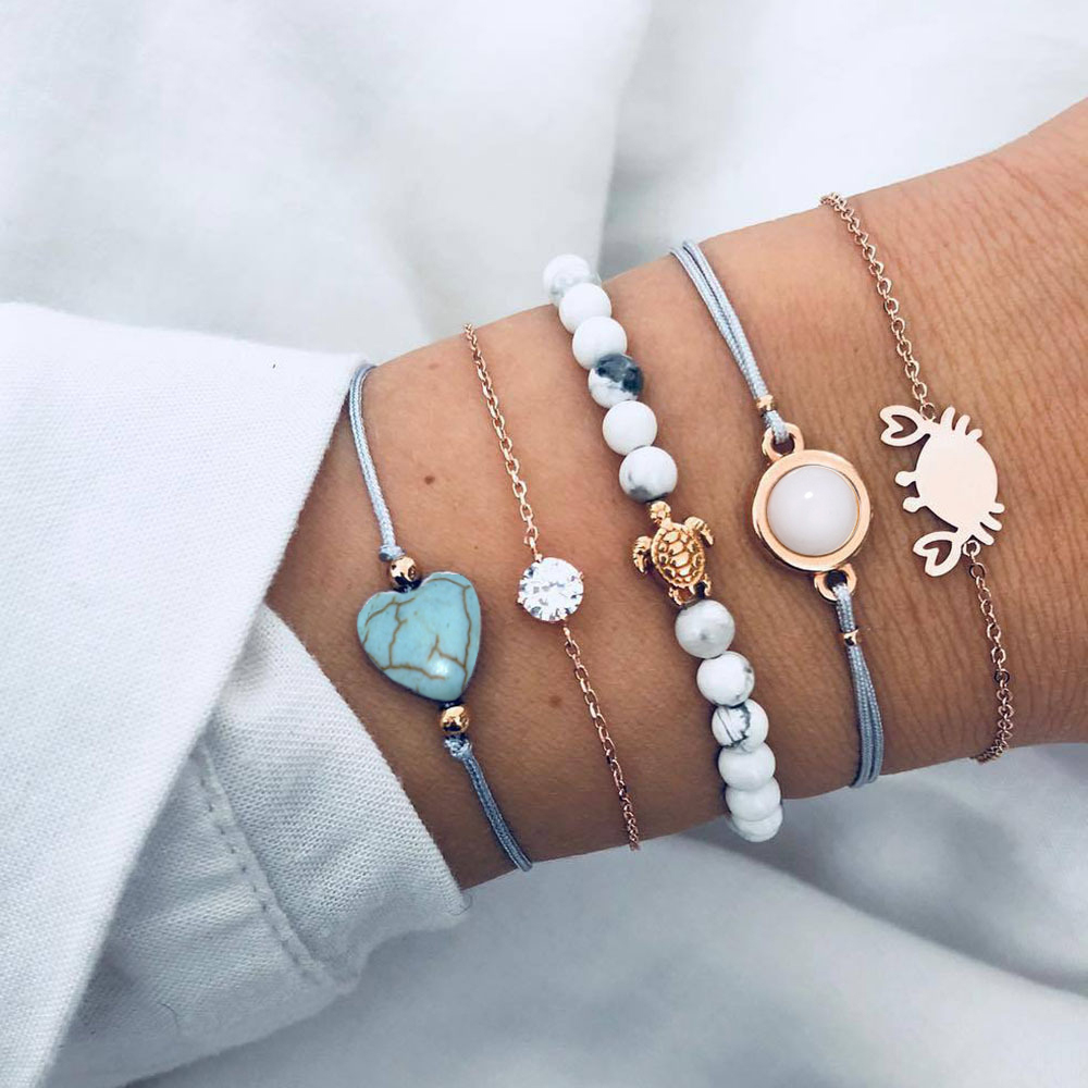 5 Pcs/set Beads Stone Turtle Crab Crystal Bracelet Set for Women Geometric Heart Charm Statement Animal Braclets for Women 2020