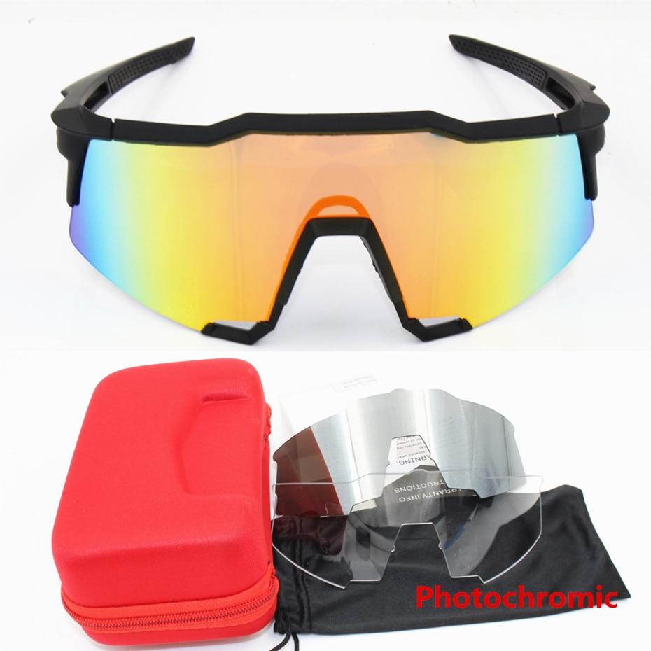 Photochromic  Brand Speedcraft 3 Lens Clear Lens Outdoor Sports Bicycle Sunglasses Bicicleta MTB Cycling Glasses Eyewear