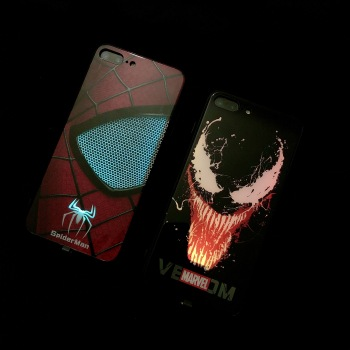 Spiderman iron Man Intelligent induction Illuminated phone case For iPhone XS MAX XR X 7 8 6 6S Plus Multicolor glitter Cove 1