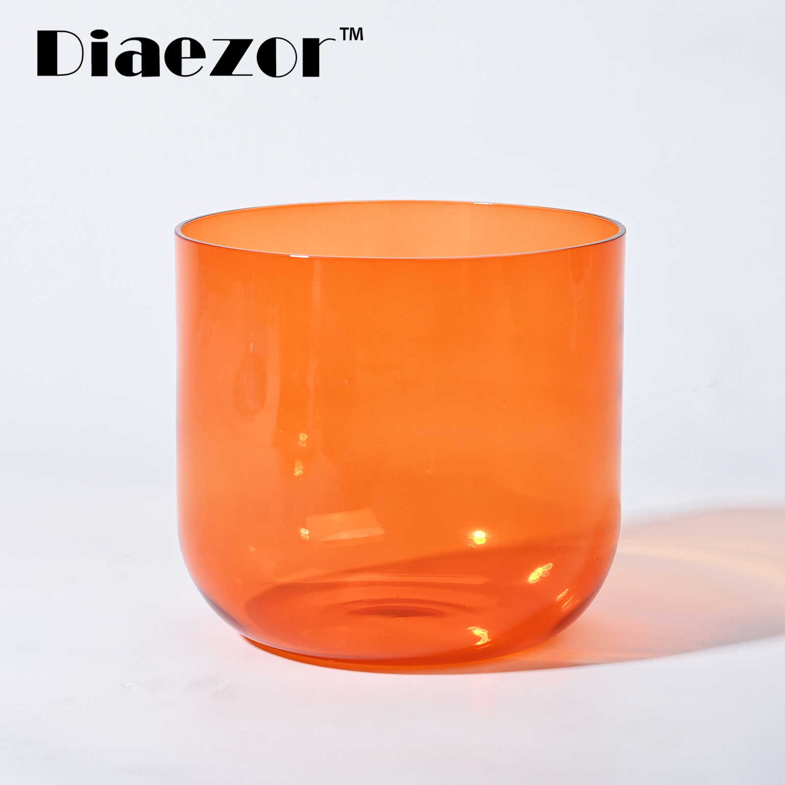 7 Inch Orange Color Clear Sacral Chakra Crystal Singing Bowl with Free Accessories