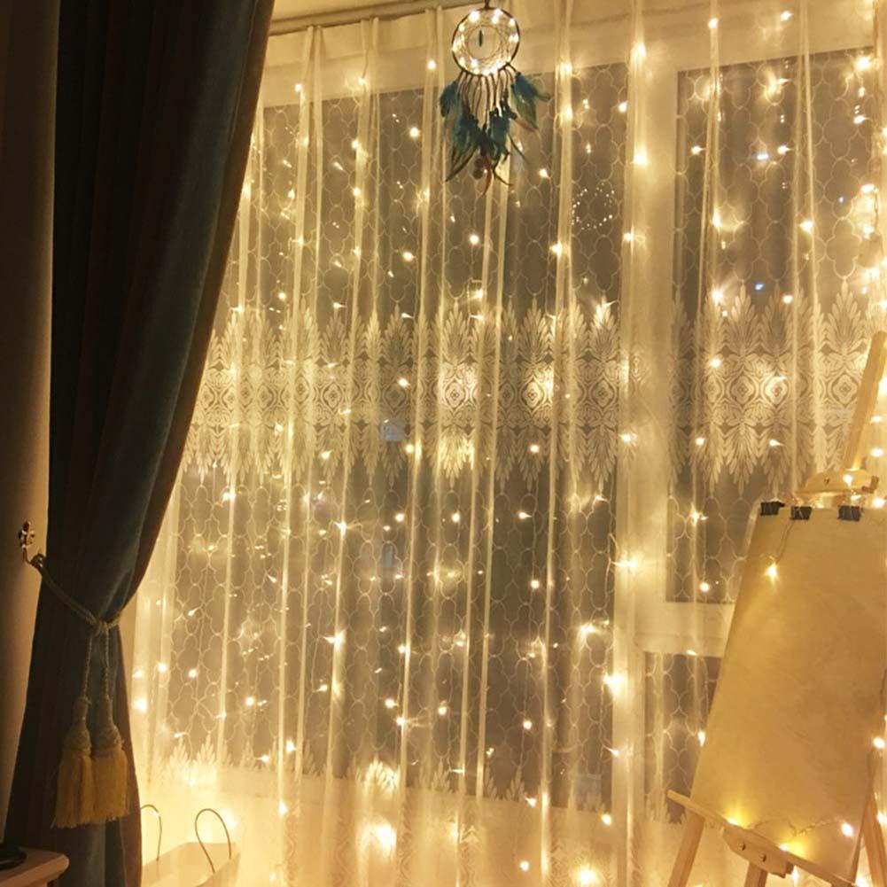 300LED 3x3Meter Curtain Strings Light USB Solid On Lamp Holiday Party Decoration Power Supply On USB Port, You Can Get Rid Of