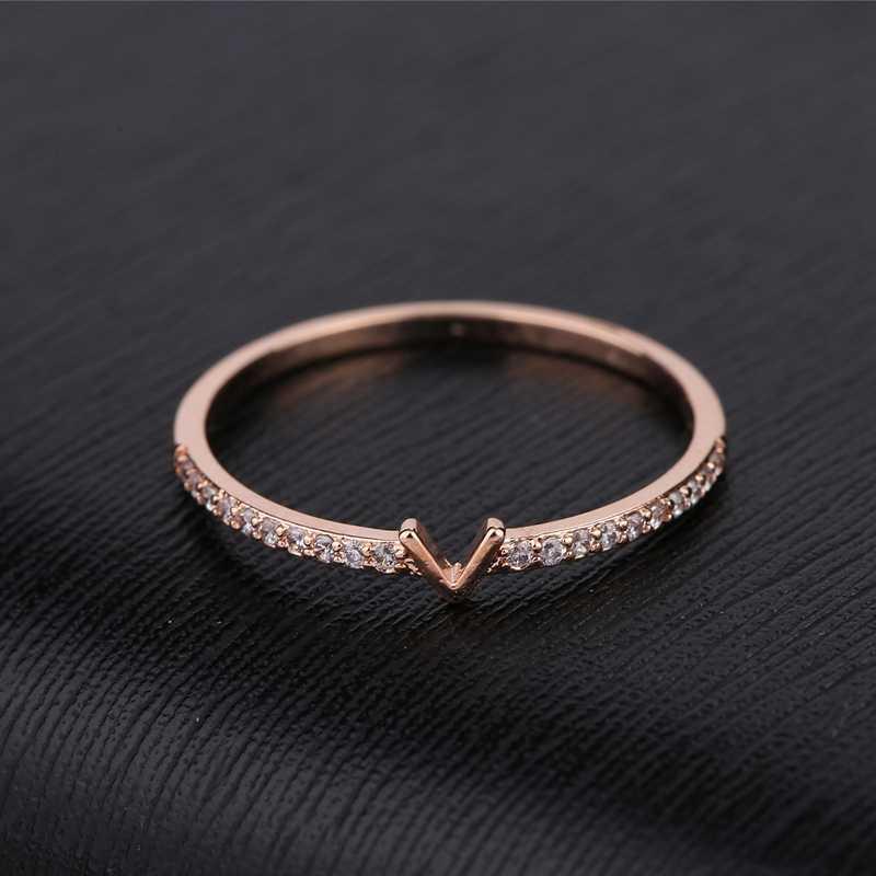 MIGGA lettre V en forme de Micro pavé cubique zircone anneau couleur or Rose Zircon cristal femmes anneau cadeau bijoux