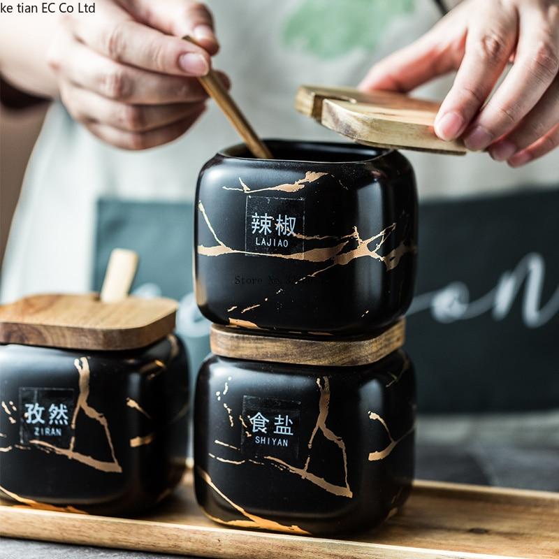 Nordic Matte Marbled Ceramic Seasoning Cans 3 piece set 3