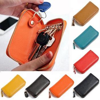 Men\s Women\s Fashion Faux Leather Zipper Purse Car Keys Wallet Card Holder