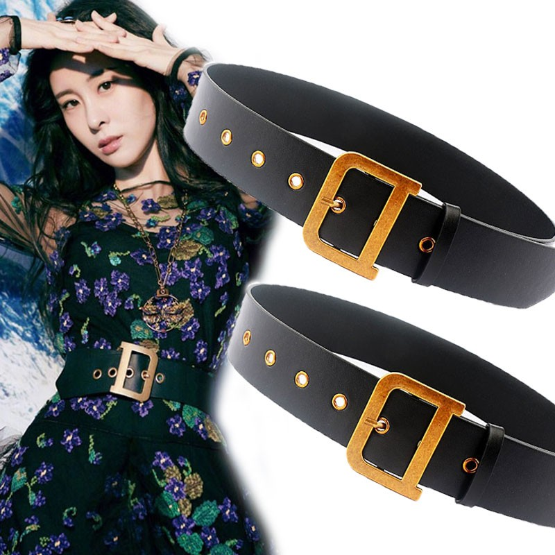 Women D Gold Buckle Designer Belts Women High Quality Leather Wide Waist Belt Luxury Designer Brand Alloy Pin Buckle Belts 2020