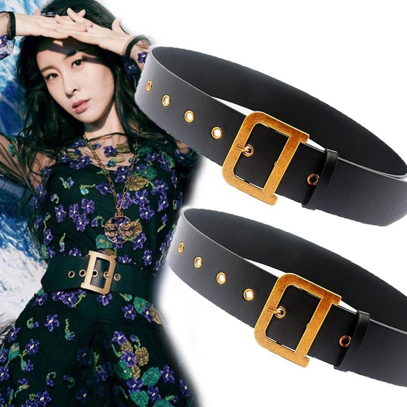 Women D Gold Buckle Designer Belts Women High Quality Leather Wide Waist Belt Luxury Designer Brand Alloy Pin Buckle Belts 2020