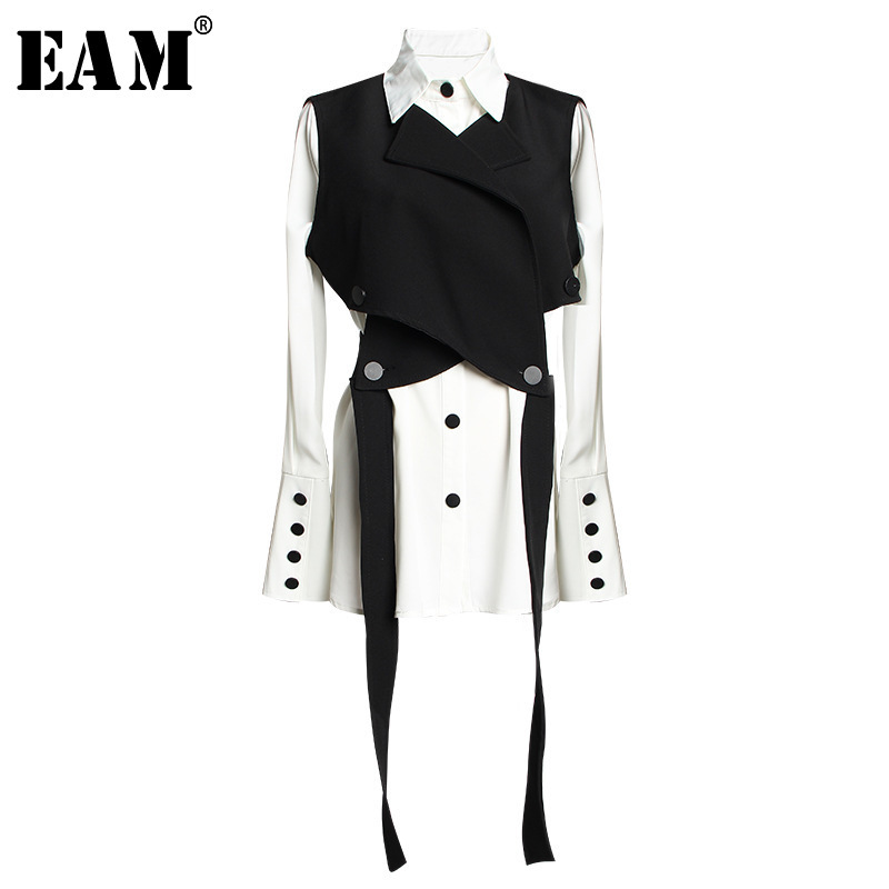 [EAM] Women Black Bandage Vest Two Piece Blouse New Lapel Long Sleeve Loose Fit Shirt Fashion Tide Spring Autumn 2020 JR675