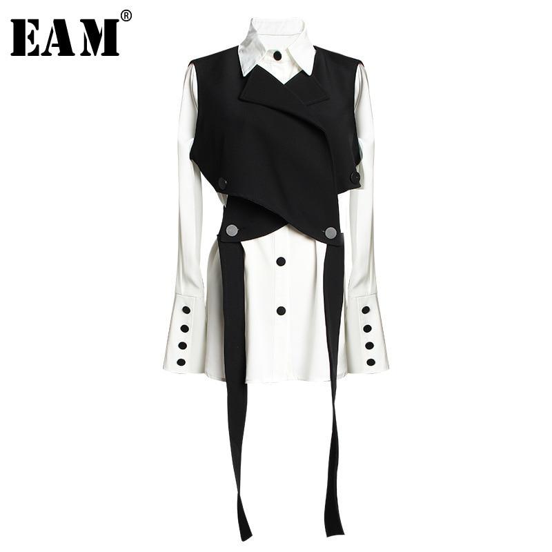 [EAM] chaleco Bandage negro para mujer, blusa de dos piezas, camisa holgada de manga larga con solapa nueva, moda de primavera y otoño 2021 JR675