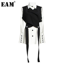 [EAM] Women Black Bandage Vest Two Piece Blouse New Lapel Long Sleeve Loose Fit Shirt Fashion Tide Spring Autumn 2021 JR675