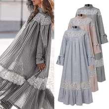 Bohemian Patchwork Dress Vintage Lapel Neck Long Sleeve Party Dresses 2021 VONDA Plus Size Loose Sundress Femme Casual Vestidos