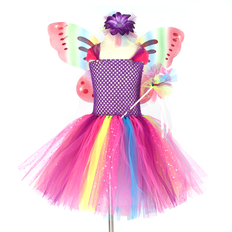 Girls Butterfly Fairy Fancy Tutu Dress Wings Costume Kids Princess Birthday Party Dress Halloween Cosplay Kids Spring Tulle Dress (10)