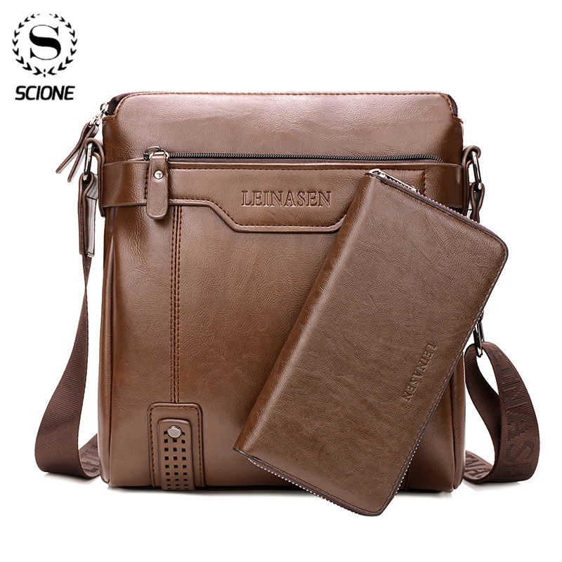 Fashion Men Shoulder Bag For 10inch Ipad Men PU Leather Flaps Men's Crossbody Bags Business Brown Flap Male Solid Messenger Bag