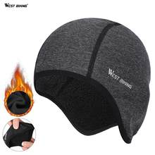 WEST BIKING – casquette de cyclisme pour hommes, épaisse, sous le casque, Double couche, couvre-tête, rabats d'oreille, protection coupe-vent, élastique, chapeau de vélo, hiver