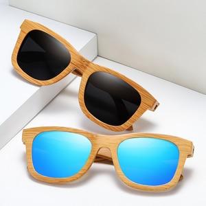 Image 3 - BARCUR 레트로 남자 선글라스 여성 편광 선글라스 대나무 수제 나무 선글라스 비치 나무 안경 Oculos de sol