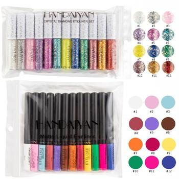 HANDAIYAN 12 Colors/pack Matte Color Eyeliner Kit Makeup Waterproof Colorful Eye Liner Pen Eyes Make up Cosmetics Eyeliners Set 1