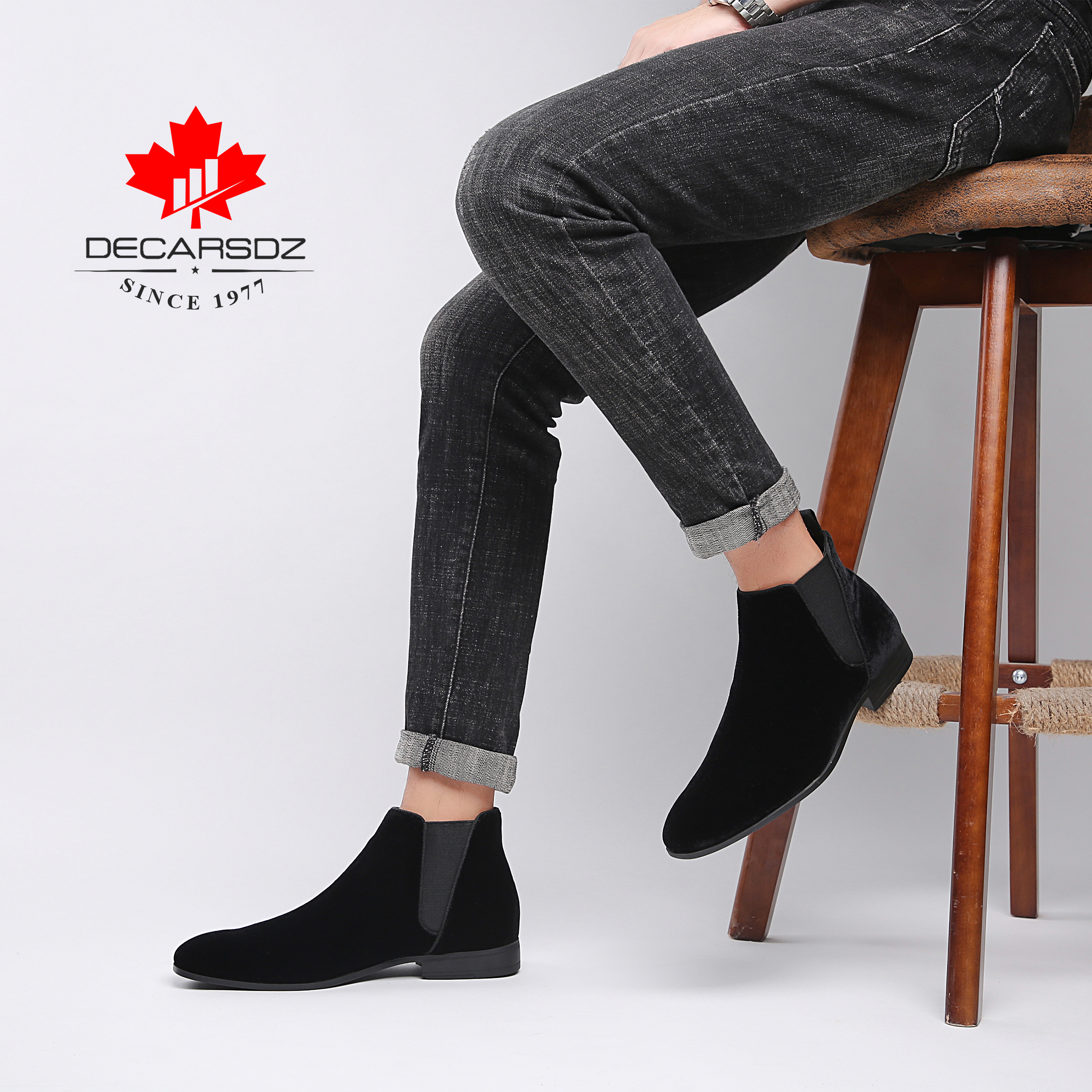 DECARSDZ Men Chelsea Boots Spring Autumn Fashion Shoes Man Comfy Slip-on Casual Boots Men New Original classic design Men Boots 5