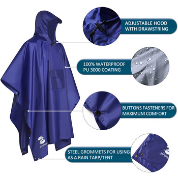 Hooded rain poncho waterproof raincoat jacket for men women adults
