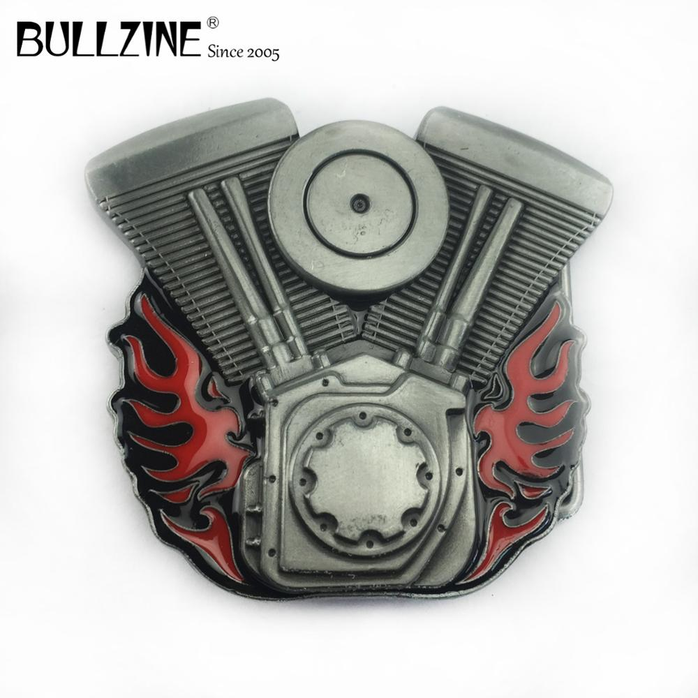 The Bullzine Motor engine belt buckle with pewter finish FP-02646 suitable for 4cm width belt