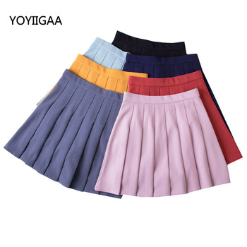 Summer Casual Solid Pleated Skirts Fashion Women Skirt Seven Color Sweet Girls High Waist A-Line Ladies Skirt for Woman Clothing shein girls black solid button up belted casual girls skirts kids clothing 2019 spring fashion a line preppy long flared skirts