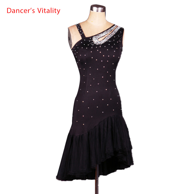 New Style Latin Dance Costume Sexy Spandex Diamond Latin Dance Competition Dress For Lady Latin Dance Dresses S-XXXL
