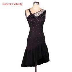 Nieuwe Stijl Latin Dans Kostuum Sexy Spandex Diamant Latin Danswedstrijd Jurk Voor Lady Latin Dance Jurken S-XXXL