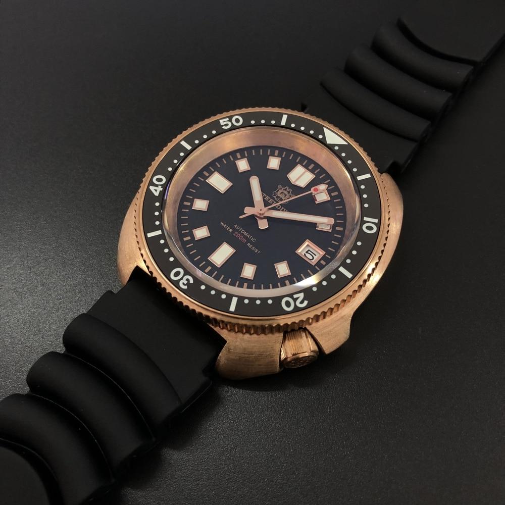 Steeldive Men Bronze Dive Watch 200M Water Resistant Ceramic Bezel Automatic Movement Wristwatch