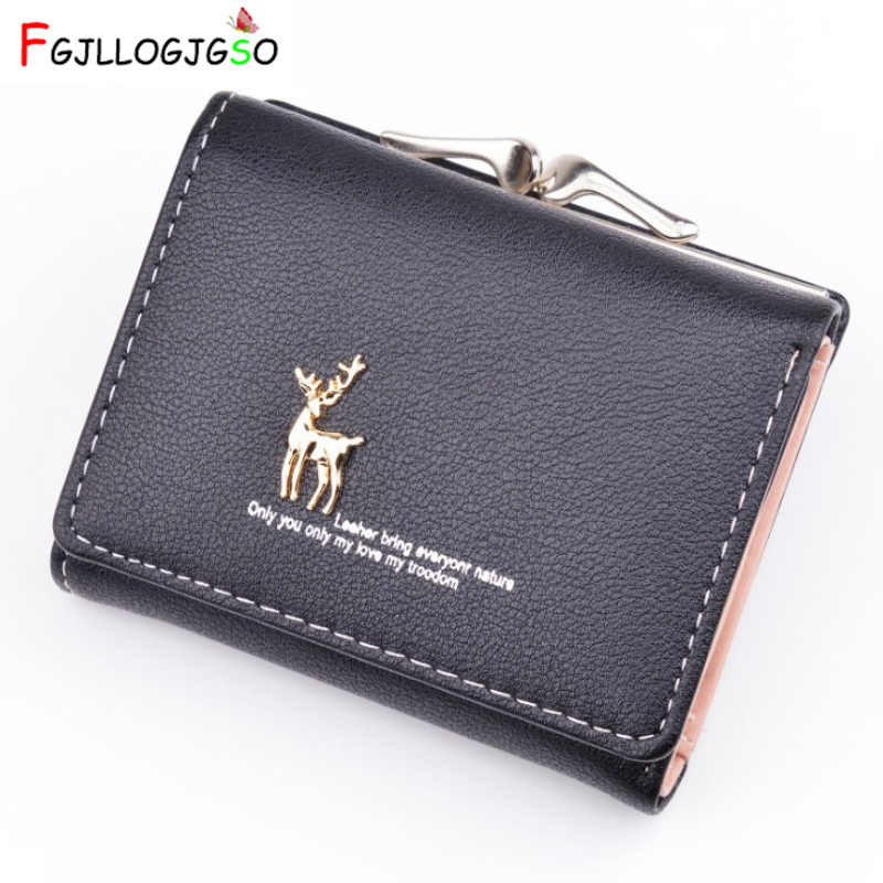 2019 Cartoon Leather Women Purse Pocket Ladies Clutch Wallet Women Short Card Holder Cute Girls Deer Wallet Cartera Mujer Ab241
