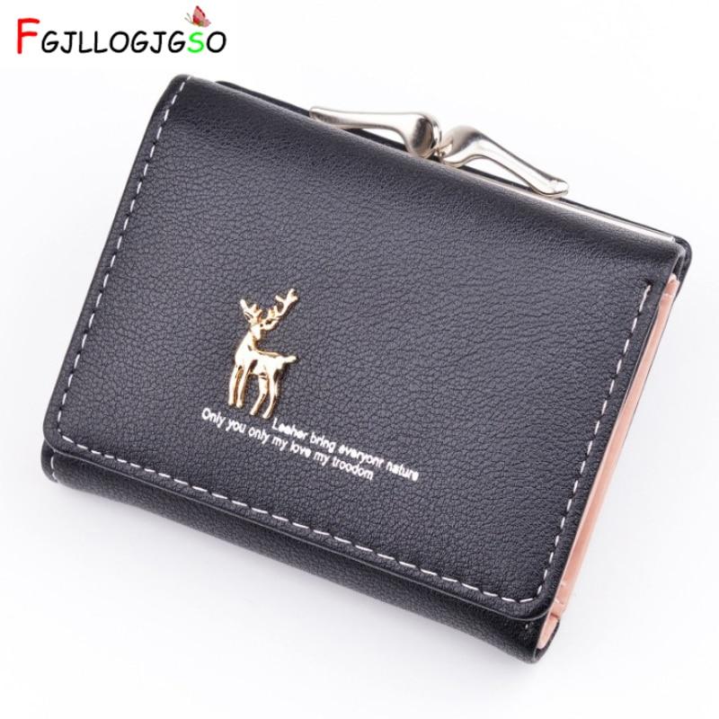 2019 Cartoon Leather Women Purse Pocket Ladies Clutch Wallet Women Short Card Holder Cute Girls Deer Wallet Cartera Mujer Ab241