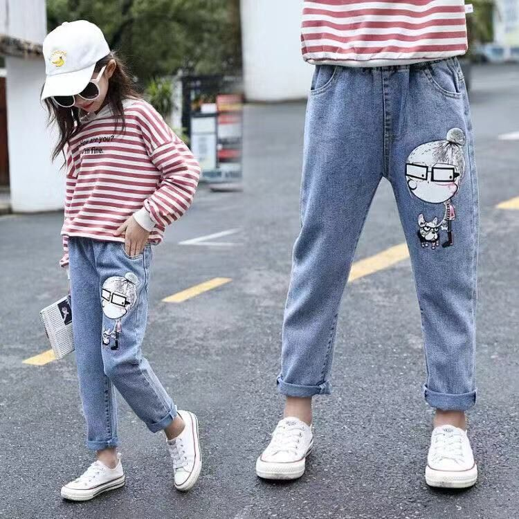 ZSIIBO Girl's Denim Trousers Children's Jeans 3-12 Years Old Korean Fashion Loose Student Pants Autumn New Style
