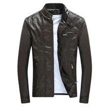 Coats  Jacket Men Autumn Winter Motorcycle Biker Faux Leather Solid Mens Jackets Clothes Thick Velvet