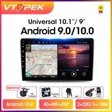 Vtopek 2din Android 10 samochodowe Stereo 4G + 64G 1/9/10 Radio samochodowe multimedialny odtwarzacz wideo nawigacja GPS dla Nissan Kia Honda Toyota VW