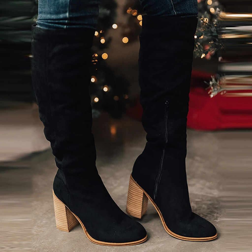 Kadın roma zarif uzun çizmeler düz renk büyük boy fermuar tıknaz yüksek topuklu diz yüksek çizmeler ayakkabı kadın kahverengi sıcak çizmeler
