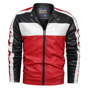 Image 3 - NEGIZBER Mens Leather Casual Fashion Long Sleeve Stand Collar Leather Joker Contrast Leather Men