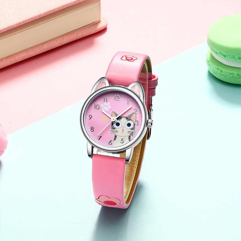 KDM ファッション腕時計ガールズボーイズかわいい猫パターン防水子供腕時計カジュアルクォーツ時計最高のギフト誕生日クリスマス