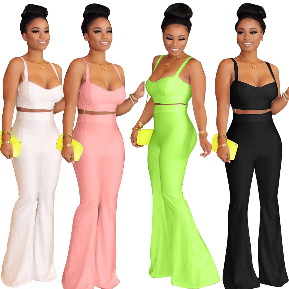 Women Solid Two Piece Set Spaghetti Straps Crop Top+ High Waist Flare Pants Tracksuit Lady Party Night Outfits Plus Size S-XXL