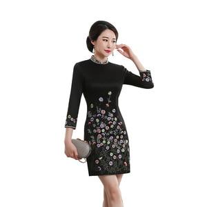 Image 5 - Vestido De Debutante Autumn 2020 New Fashion Retro Cheongsam Dress Quality High end Factory Direct Sale Women With Nine Sleeves