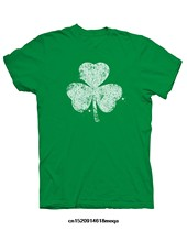 funny t shirts Distressed Shamrock Irish Men Short Sleeve T-shirt(China)