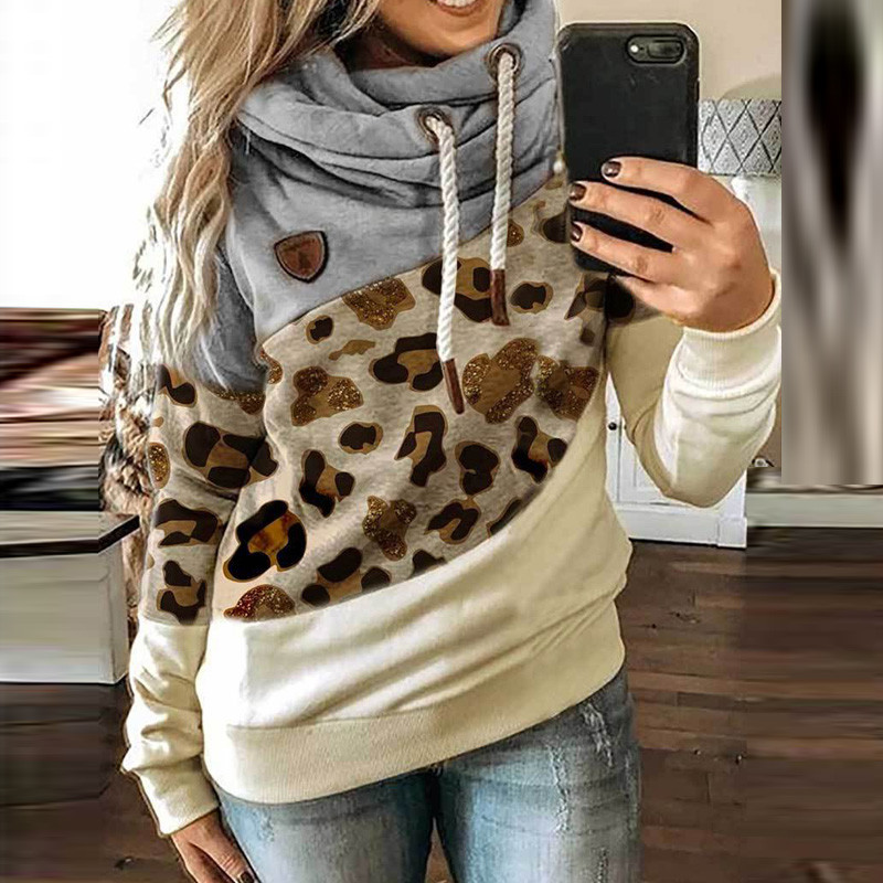 5XL Leopard Patchwork Hooded Sweatshirt Women 2020 Autumn Winter Long Sleeve Hoodies tops Female Drawstring pullovers Harajuku 3