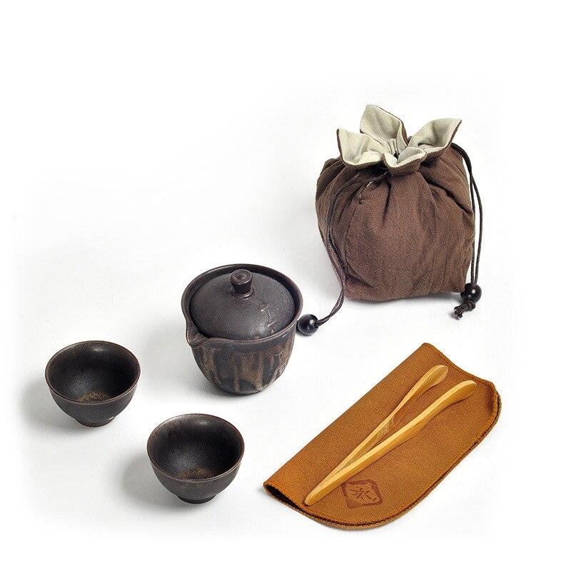 Chinese Kung Fu Tea Set Ceramic Portable Teapot Set Outdoor Travel Gaiwan Tea Cups Of Tea Ceremony Teacup Fine Gift