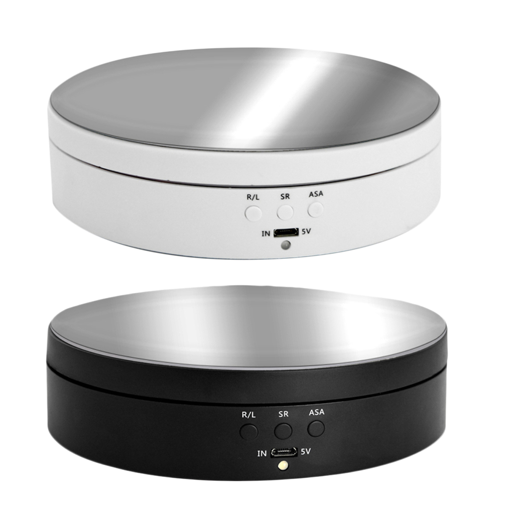 3 Speeds Rotating Display Stand Base Turntable Mirror Top, Battery/USB Powered - 2 Colors For Choose