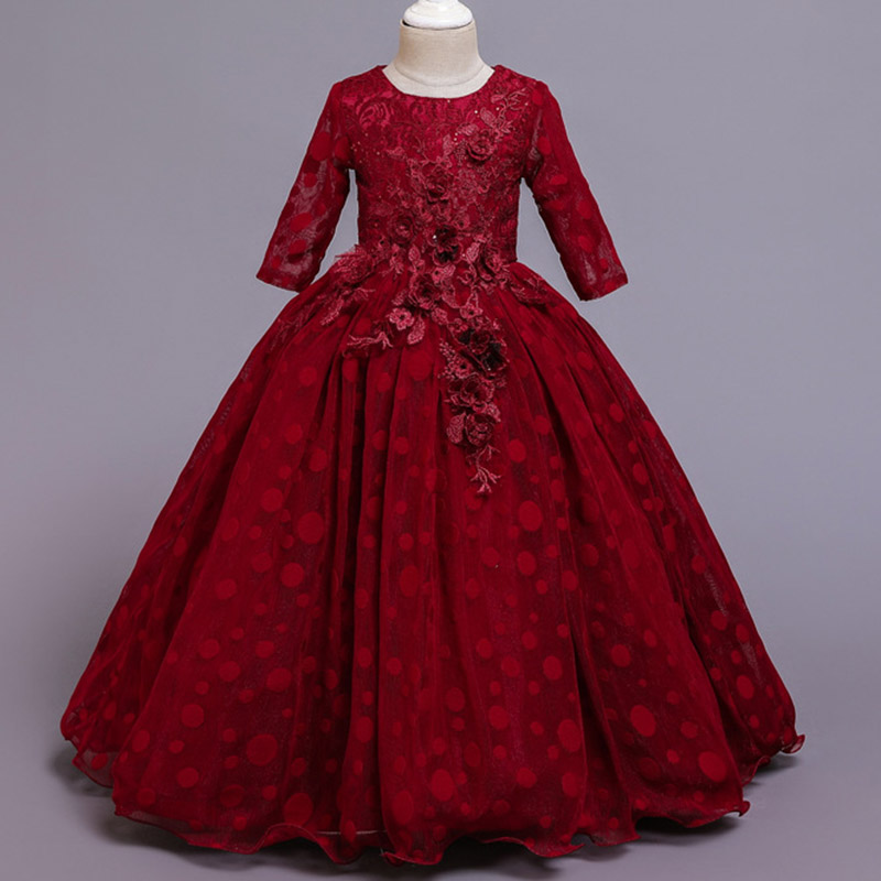 Кружевные платья для девочек с цветочным рисунком и длинным шлейфом; элегантные платья невесты; бальное платье; вечернее платье; платья для первого причастия; Vestido Comunion - Цвет: Dark red