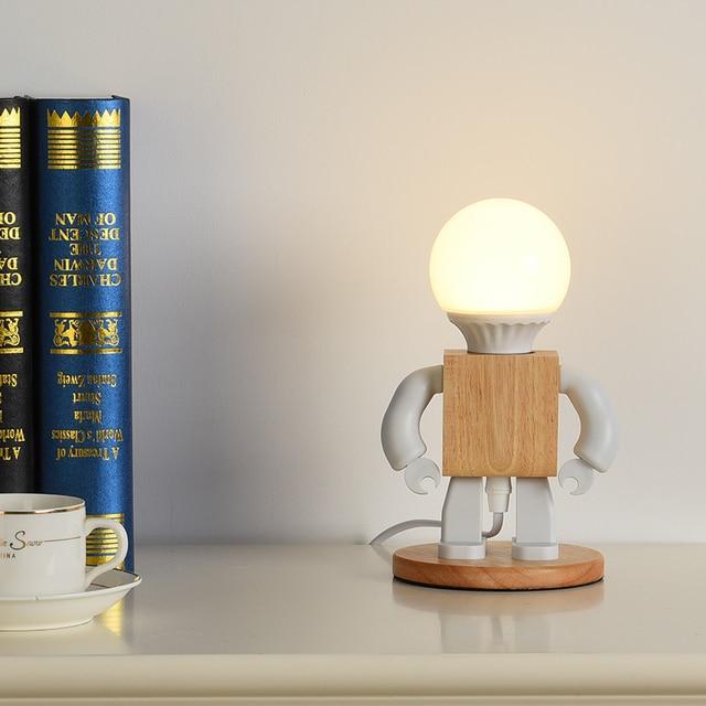 Купить деревянная светодиодная лампа в виде робота настольная украшение картинки