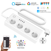 цена на 16A EU Wifi Smart Power Strip 4 Way 3.1A USB Extension Socket With EU Plug Tuya Smart Home Voice Control Outlet Network Filter