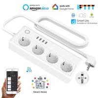 16A EU Wifi Smart Power Strip 4 Way 3.1A USB Extension Socket With EU Plug Tuya Smart Home Voice Control Outlet Network Filter