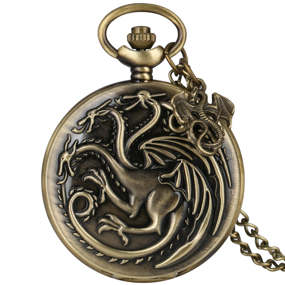 Game Of Thrones Theme Quartz Pocket Watch Family Crests House Targaryen Drogon Design Fob Watches Necklace Chain With Accessory