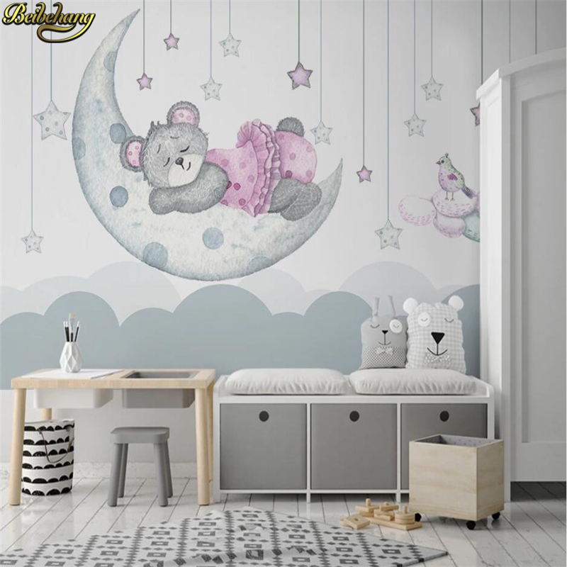 Beibehang Nordic Hand-painted Cartoon Dream Moon Bud Stars Bear Children Room Background Wall 3d Wallpaper Mural