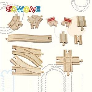 Image 2 - EDWONE buk Bridge Rail Track akcesoria nadające się do drewniany pociąg edukacyjny chłopiec/zabawka dla dzieci wiele torów